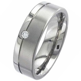 Two Tone Flat Profile Diamond Titanium Wedding Ring