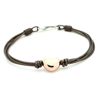 Bronze Leather Bracelet with Rose Gold Heart Charm