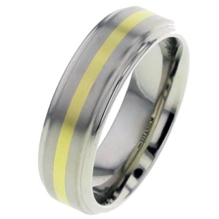Titanium Wedding Ring with Yellow Gold Inlay