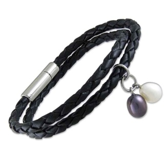 Black Plaited 4mm Bolo Leather Bracelet with Black & White Pearls