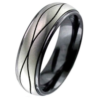 Two Tone Flat Profile Zirconium Ring with Wave Detail