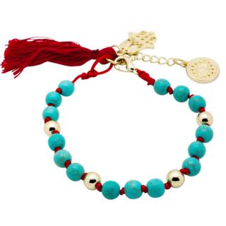 Turquoise & Red Kabbalah Hamsa Evil Eye Charm Bracelet
