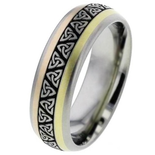 Inlaid Titanium Wedding Ring with Trinity Knot Pattern