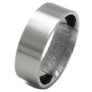 Customised Satin Titanium Ring with Secret Fingerprint