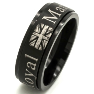 Black Stainless Steel Royal Marines Spinning Ring