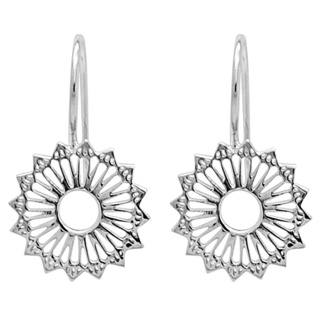 Polished 925 Silver Mandala Sunflower Earrings