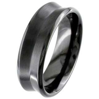 Black Concave Zirconium Wedding Ring