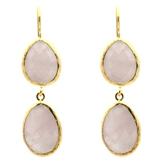 Gold Plated Rose Quartz Double Drop Earrings