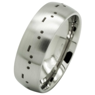 Personalised Satin Titanium Morse Code Ring
