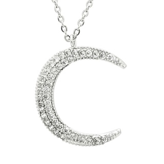 Silver Crystal Plated Crescent Moon Necklace