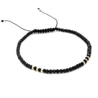 Handmade Black Diamond Crystal & Gold Plated Adjustable Bracelet