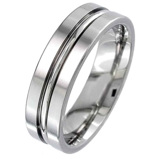 Two Tone Flat Profile Titanium Ring with a central groove