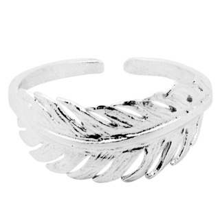 Silver Midi Feather Ring