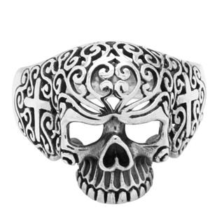 925 Silver Detailed Skull Ring