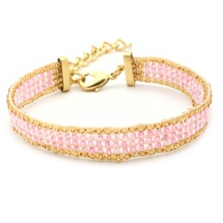 Gold Plated Pink & Gold Beaded Bracelet