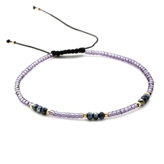 Handmade Purple & Gold Plated Beaded Adjustable Bracelet