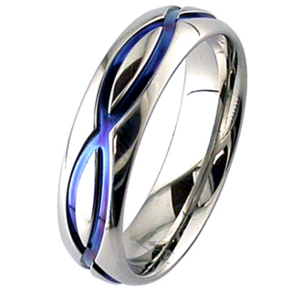 Dome Profile Zirconium Ring with Blue Wave Design