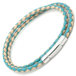 Turquoise & Tan Woven Leather Double Wrap Bracelet