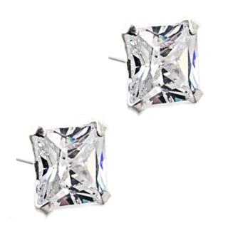 Princess Cut 6mm Cubic Zirconia Crystal Silver Earrings