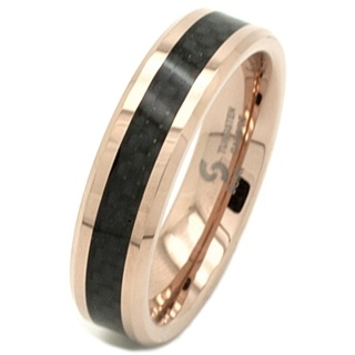 Rose Gold Tungsten Carbide Ring with Carbon Fibre Inlay