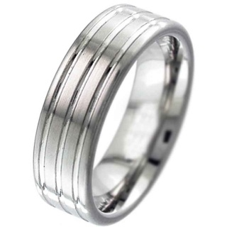 High polished triple groove flat profile Titanium Ring