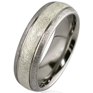 Dome Profile White Gold & Titanium Wedding Ring