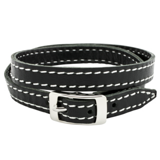 Black Leather Double Wrap Buckle Bracelet