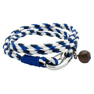 Double Wrap Tri Colour Blue Leather Bracelet