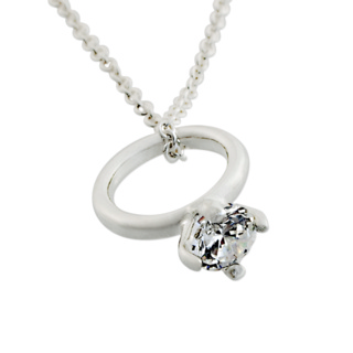 Silver Engagement Charm Necklace