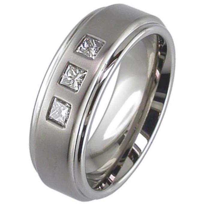 Princess Cut Diamond Set Titanium Wedding Ring Titanium Rings