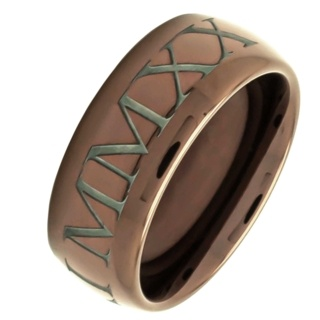 Personalised Roman Numeral Coffee Coloured Tungsten Carbide Ring