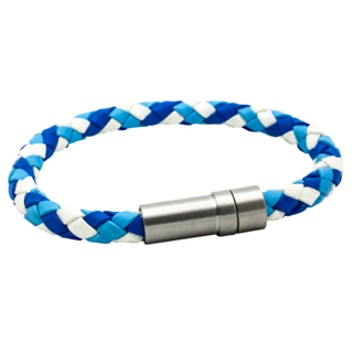 Tri Colour Blue Woven Leather Bracelet