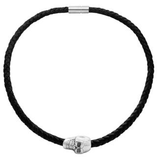 Polished Steel Skull Black Leather Necklace
