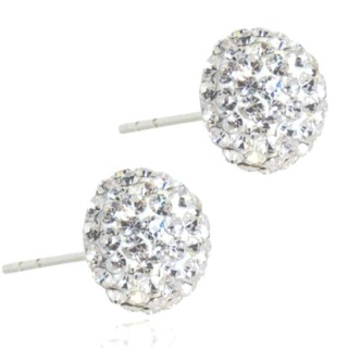 Spangle Crystal Stud Silver Earrings