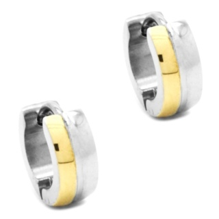 Mini Stainless Steel Dome Gold Huggie Earrings