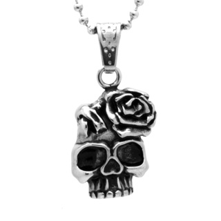 Stainless Steel Skull & Rose Necklace