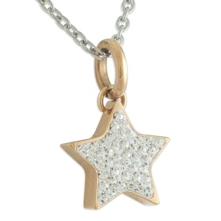 Rose Gold Steel Star with Cubic Zirconia Crystals