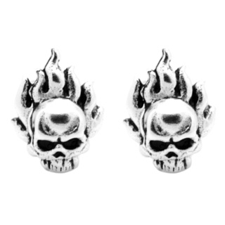 Silver Flamed Skull Earrings