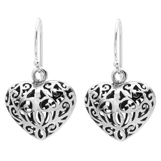 925 Silver Filigree Heart Drop Earrings