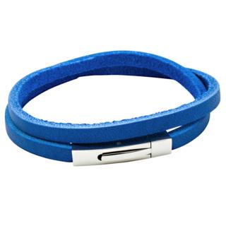 Rectangular Blue Leather Wrap Bracelet