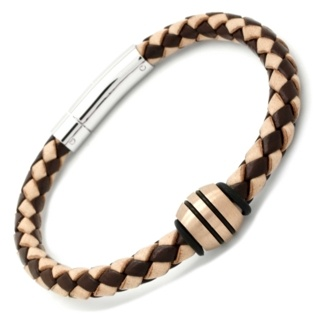 Two Tone Leather Bracelet with a Satin Rose Gold Titanium Bead