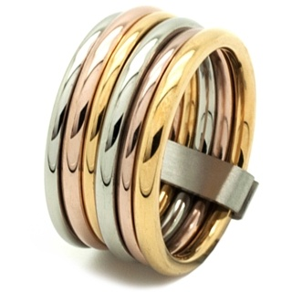 Stainless Steel Multi-Coloured Stacking ring