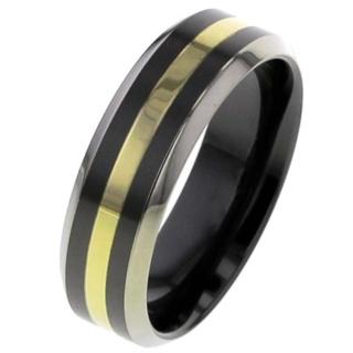 Flat Zirconium Wedding Ring with Gold Inlay