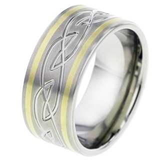 Celtic Titanium Ring with Yellow Gold Inlays
