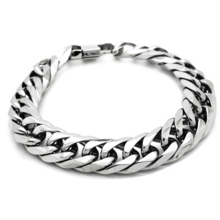 Polished Wide Stainless Steel Curb Chain Bracelet