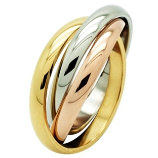 Tri Colour Steel Russian Wedding Ring
