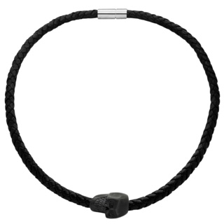 Matt Black Steel Skull Leather Necklace