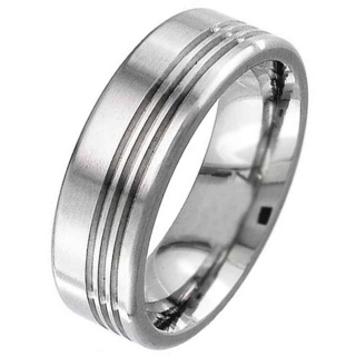 Flat Profile Titanium Ring with Three off Centre Grooves