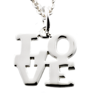 Polished Silver Love Charm Necklace