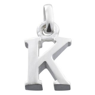 Polished Silver Letter K Charm